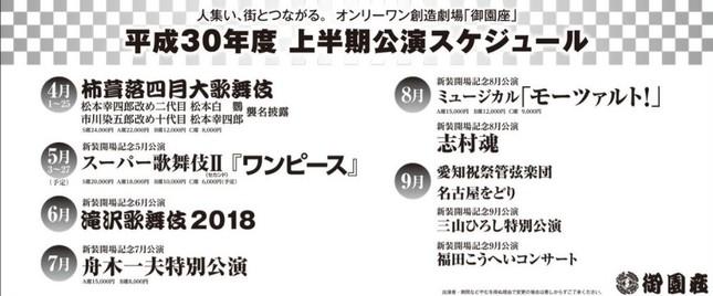 名古屋・御園座、2018年度の上半期公演スケジュール