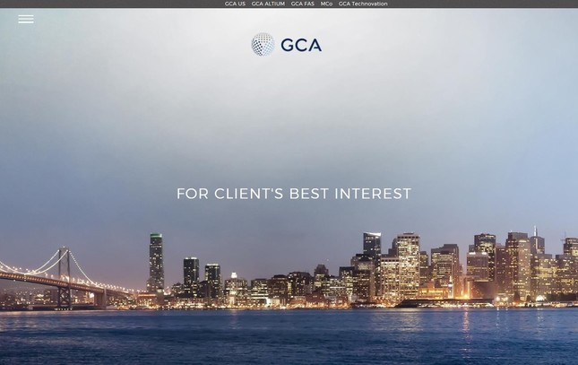平均年収トップ、4年連続でM&A助言のGCA(画像は、GCAのホームページ)