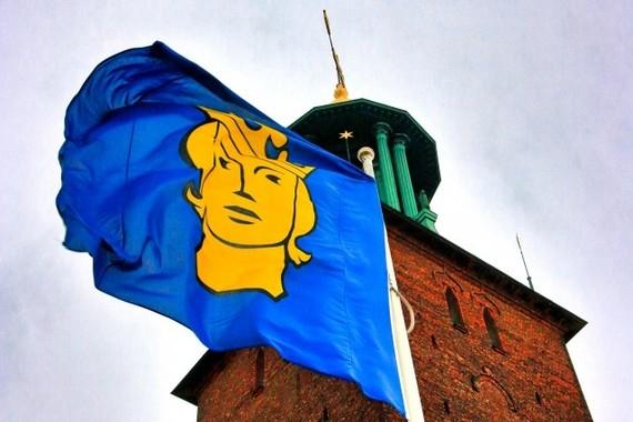 ノーベル平和賞は、コンゴ民主共和国のデニ・ムクウェゲ医師と女性活動家のナディア・ムラド氏に(写真は、12月にノーベル賞授与式が行われるスウェーデン・ストックホルムの市章旗)
