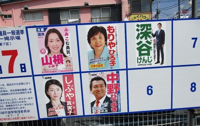 埼玉県議会議員選挙のときの川越市内のポスター。全員、姓名に平仮名を使っている。