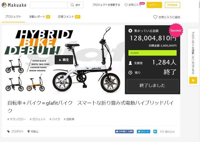クラウドファンディングサイト「Makuake」で出資を募った「glafit」。目標300万円に、1億2800万円が寄せられた。