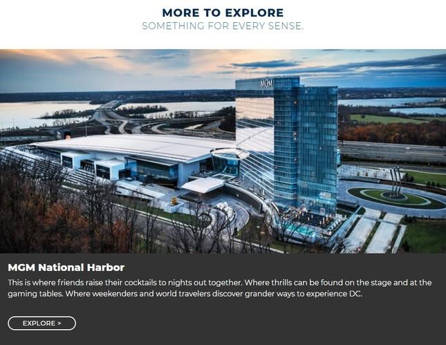 米ワシントンDC郊外に2016年開業したIR、ナショナルハーバーのHP。米国の首都を変身させたといわれる
