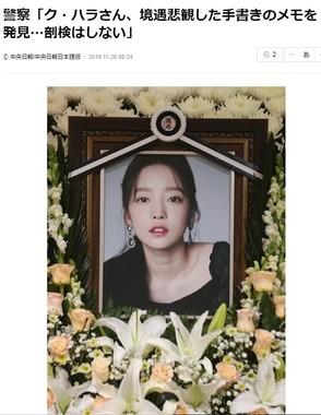 ク・ハラさんの死を伝える中央日報(2019年11月26日付)