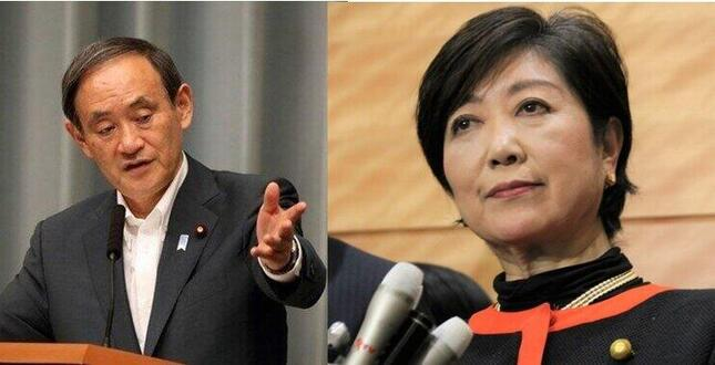 菅官房長官VS小池都知事は「子どものケンカ」か?(いずれも2017年撮影)