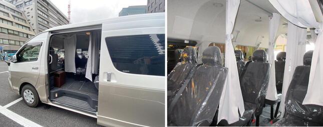 「パーソナルベンチレーションキット」を架装した車両の、乗車口のイメージ(左)と車内のイメージ