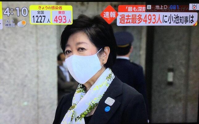 東京都の新規感染者493人を速報するフジテレビ「イット!」(2020年11月18日)