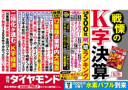週刊ダイヤモンド(2021年5月15日号)は「戦慄のK字決算」!