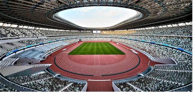 東京大会の開幕を静かに待つ新国立競技場(写真は、東京2020組織委員会のホームページより)