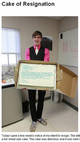 ニールさんが作った「Cake of Resignation(辞表ケーキ)」は写真共有サイトで衆目の知るところとなった