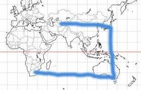 世界地図をキャンバスに描く「コ」。サッカー日本代表の岡田監督も同じ旅路を辿っている