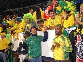 ブラジル人サポーターが大挙して、最前列に陣取っていた