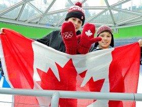 ロブソンスクエアのスケートリンクに応援に来たカナダ人親子