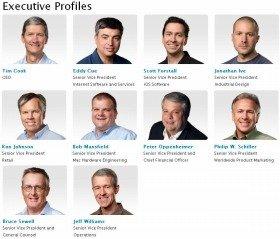 冷静で温厚そうなティム・クック率いる現在のアップル重役陣(アップルのウェブサイトより)