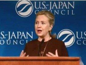 米日カウンシルで講演するクリントン国務長官(2011年10月7日)