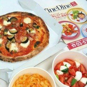 編集部で注文したピザとパスタとカプレーゼ