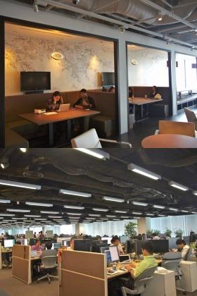 食堂もオフィス(下)もゆったりとした空間だ