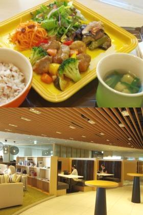 野菜中心ながらボリューム満点の料理を、美しい社員食堂で食べることができる