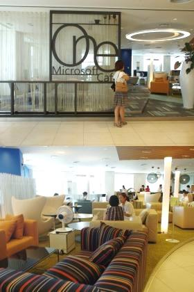 「One Microsoft Cafe」のエントランス(上)と内部。まるで高級家具店のよう