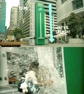 「瞬間爽快」を表現するために考え抜かれた巨大スプラッシュ自販機(動画より)