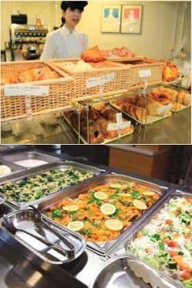 「焼きたて」が嬉しい自慢のパンが並ぶカフェコーナー(上)。グラムデリ(下)は10グラム12円で利用できる