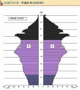 日本の2020年人口ピラミッド(総務省統計局サイトから)