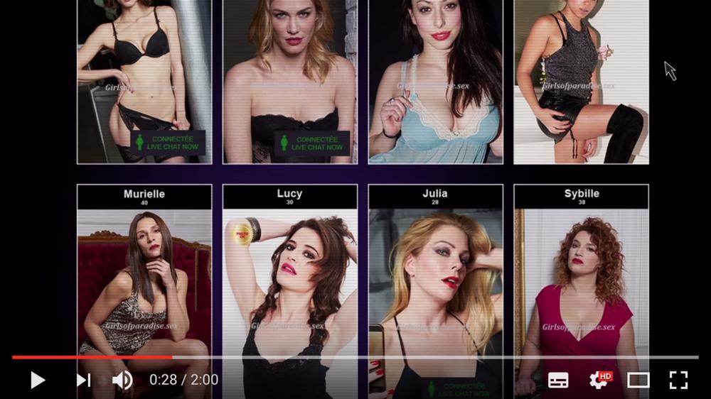 サイトには下着姿の女性の写真がずらりと並ぶ