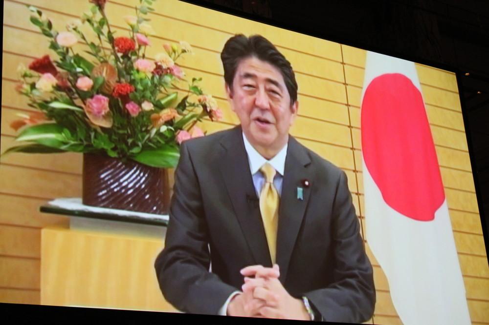 安倍首相はビデオメッセージで「中小企業の活性化を進めたい」と表明