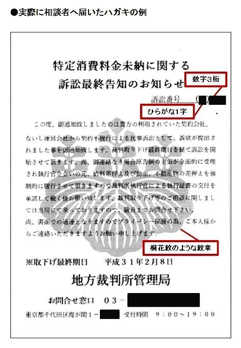 写真1 桐花紋が使われた架空請求詐欺のハガキ(国民生活センター提供)