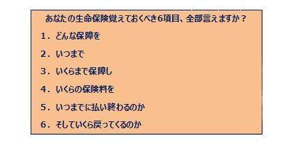 - (表2)生命保険の覚えておくべき6項目 -