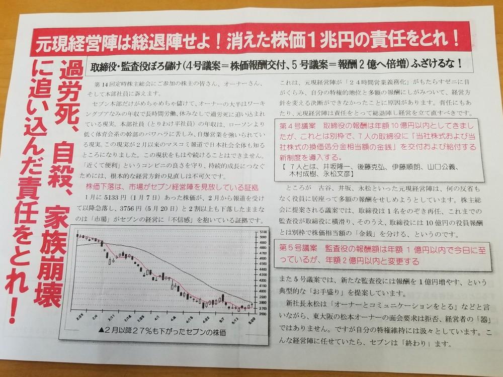 「消えた株価1兆円の責任をとれ!」(セブン&アイHDの株主総会で配布されていたビラ)