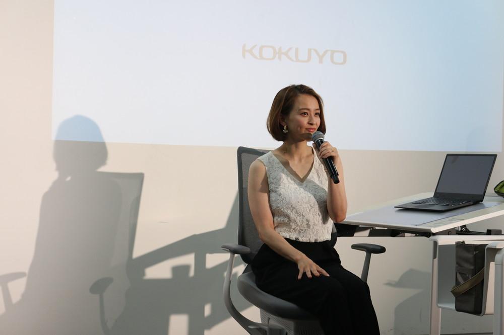 「引退して仕事でパソコンを使うことが多くなった」と話す、元体操選手の田中理恵さん。