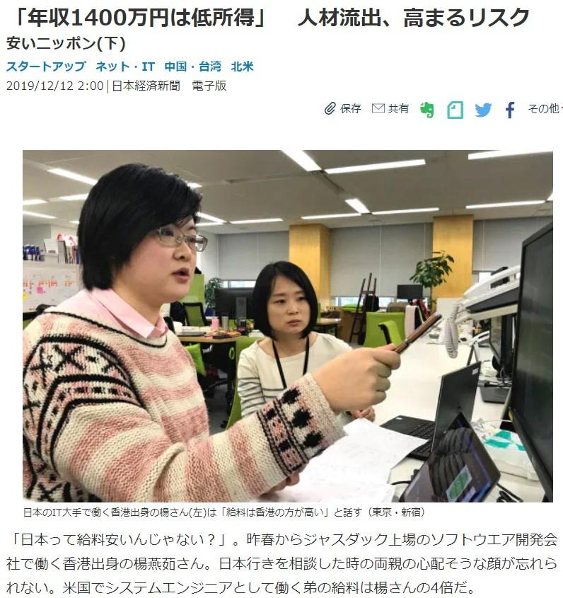 「年収1400万円は低所得者」という見出しの日本経済新聞(2019年12月12日付オンライン版)