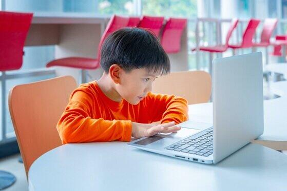 子供はニヤニヤ、オンライン授業