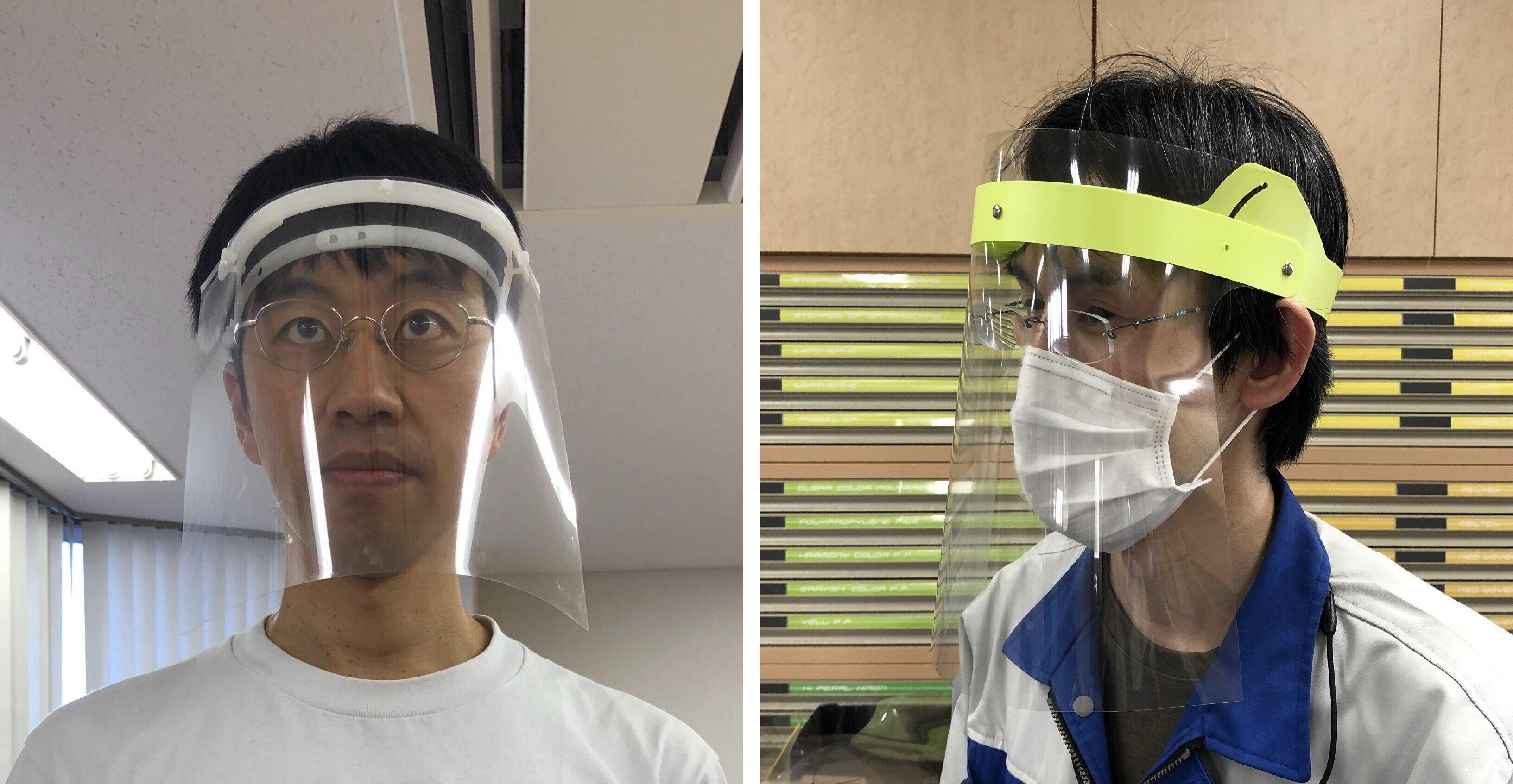 「クリヤーホルダー」を使ったシールドのイメージ(左)と、コクヨMVPが提供したヘッドギアタイプシールド