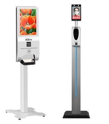 サイネージと組み合わせたNEOkirei(左)と顔認証・体温測定の機能を備えたNEOgate