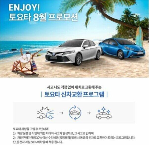 「新車交換」をアピールする韓国トヨタのホームページ