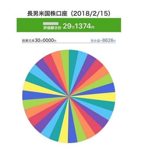 30万円で米国株を買った直後の画面(2018年2月15日)