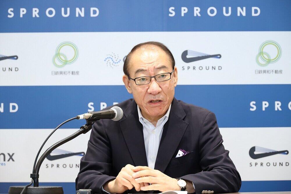 オンライン会見でスプラウンドについて発表する日鉄興和不動産の今泉社長