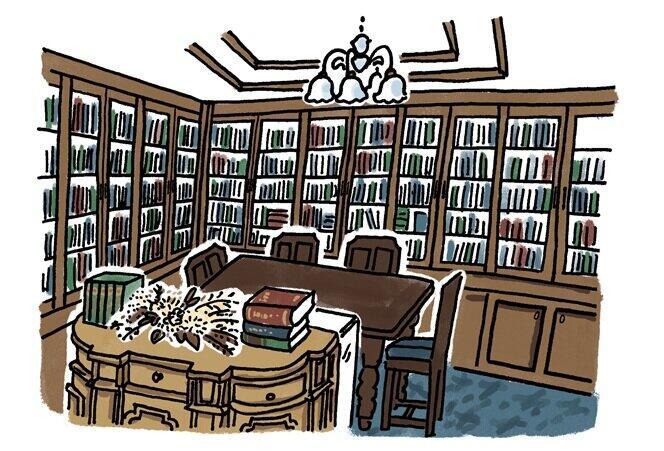 書斎のような店内奥のスペースでは希少本を取り扱う