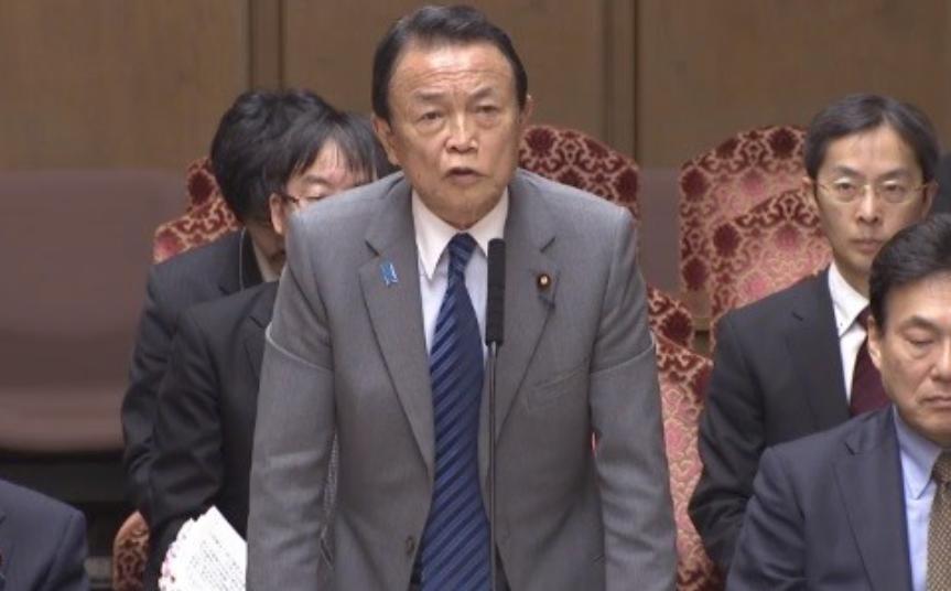 「もう政治家辞めてほしい」という声が殺到した麻生太郎財務相(2020年3月、参院インターネット中継サイトより)