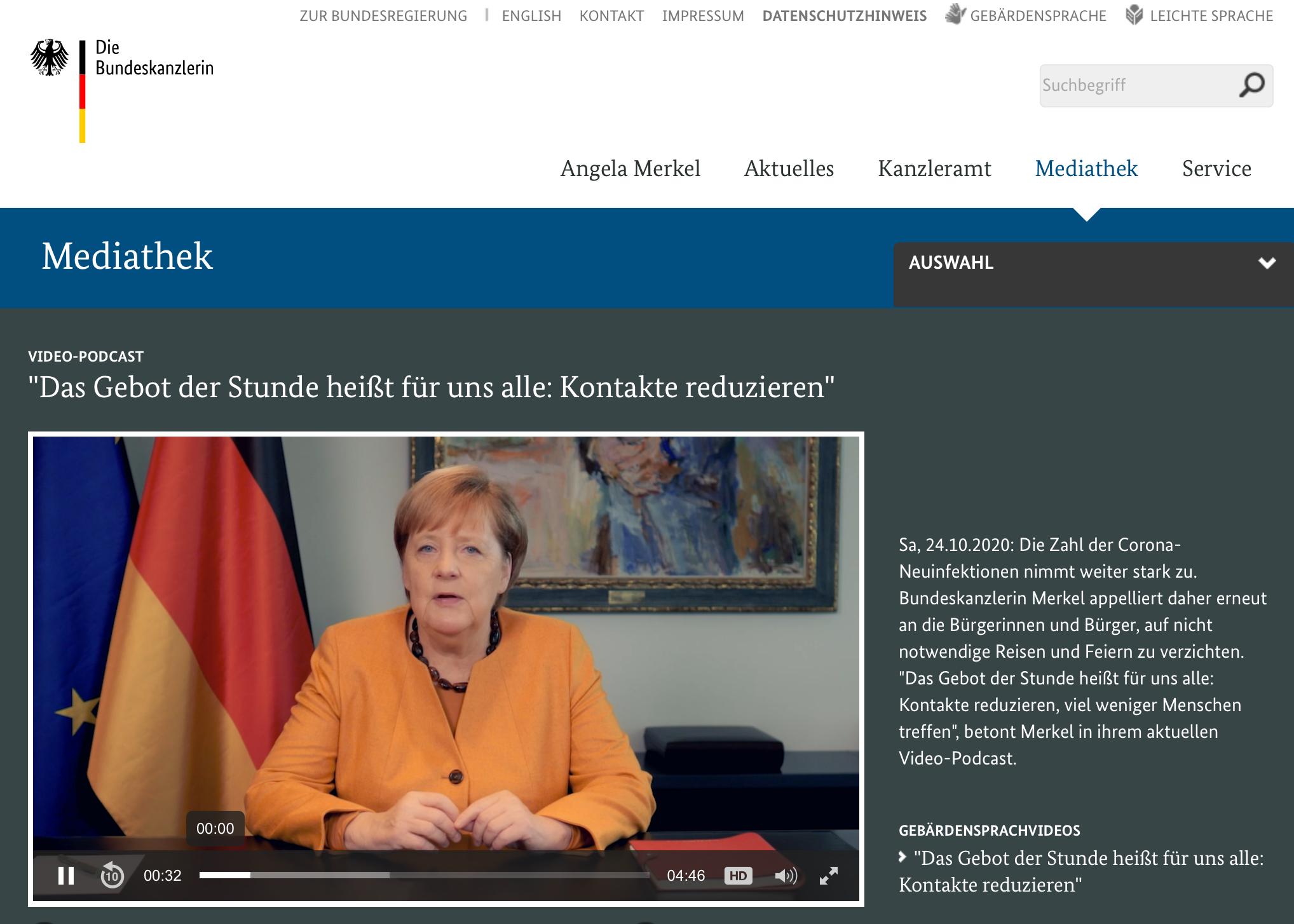 ポッドキャストで人との接触を減らすよう訴えかけるメルケル首相(出典: bundeskanzlerin.de)
