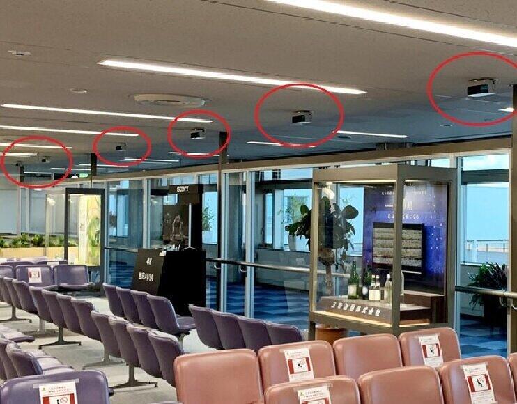 紫外線で空気環境対策!(写真は、大分空港内。赤い円内が「エアロシールド」)