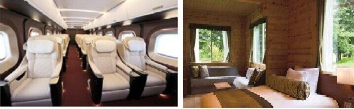 「付加価値商品の提案」では「グランクラス」(左)とプリンスホテルの特別な客室(右)との組み合わせも