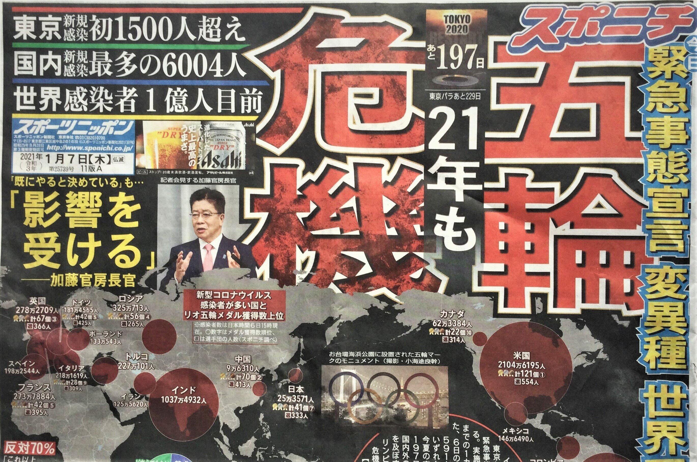1面トップで「五輪危機」を報じるスポーツニッポン(1月7日付)