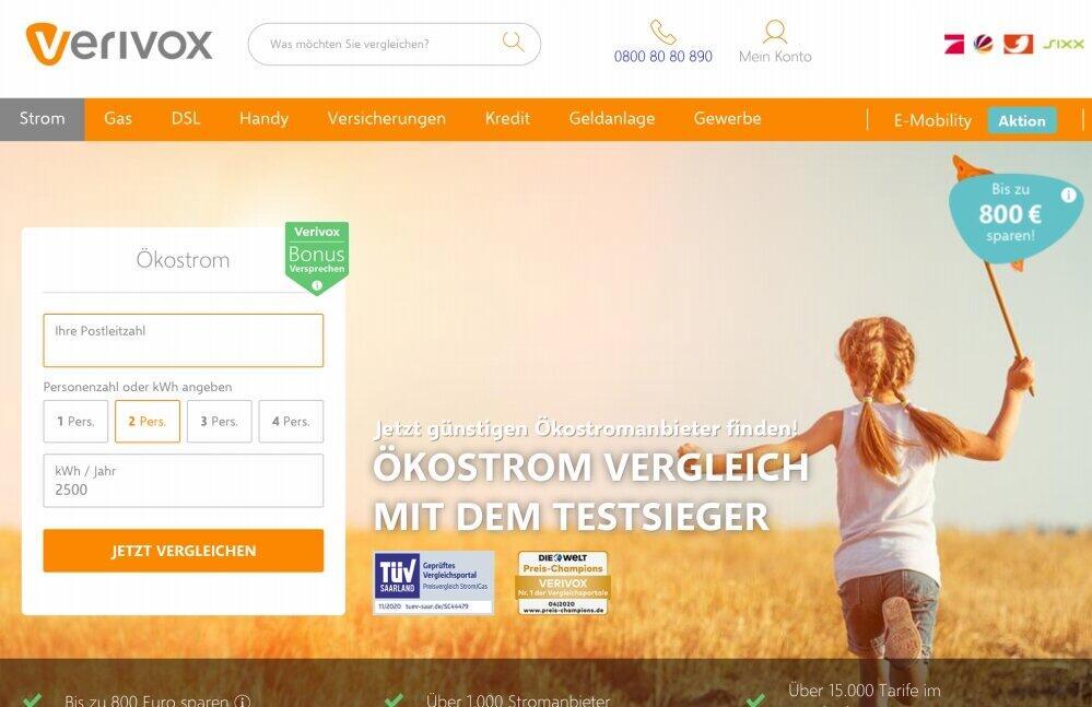 料金比較サイトではエコ電力(Ökostrom)に限定して電気料金プランの検索ができるようになっている(出典:Verivoxホームページ)