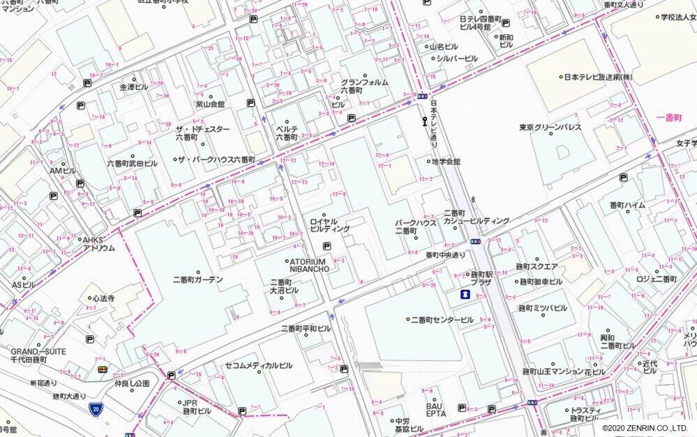 J-CASTニュース本社所在地周辺の住宅地図(ゼンリン提供)