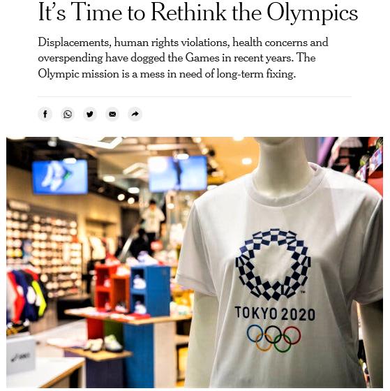 「最悪のタイミング」と東京五輪中止を求めたニューヨーク・タイムズ電子版(4月12日付)