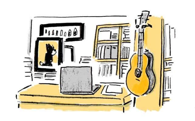 レジの横には店主の趣味であるギターが置かれている