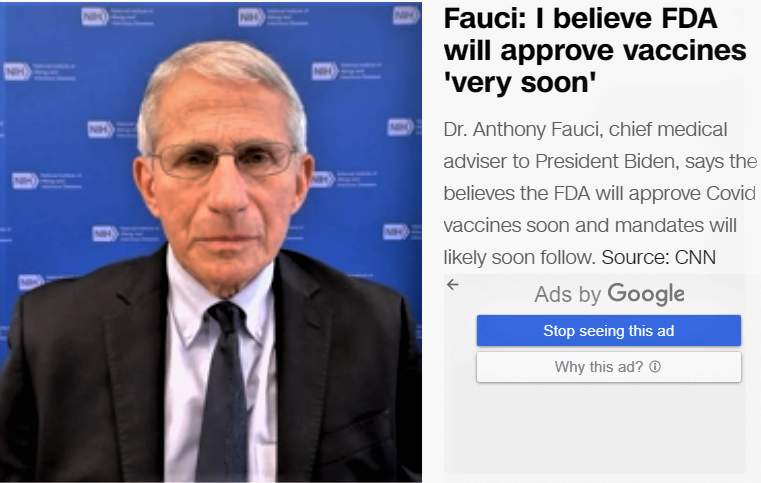 米国民すべてにワクチンの3回目接種が必要だと訴えたファウチ氏(CNNニュース電子版8月13日付)