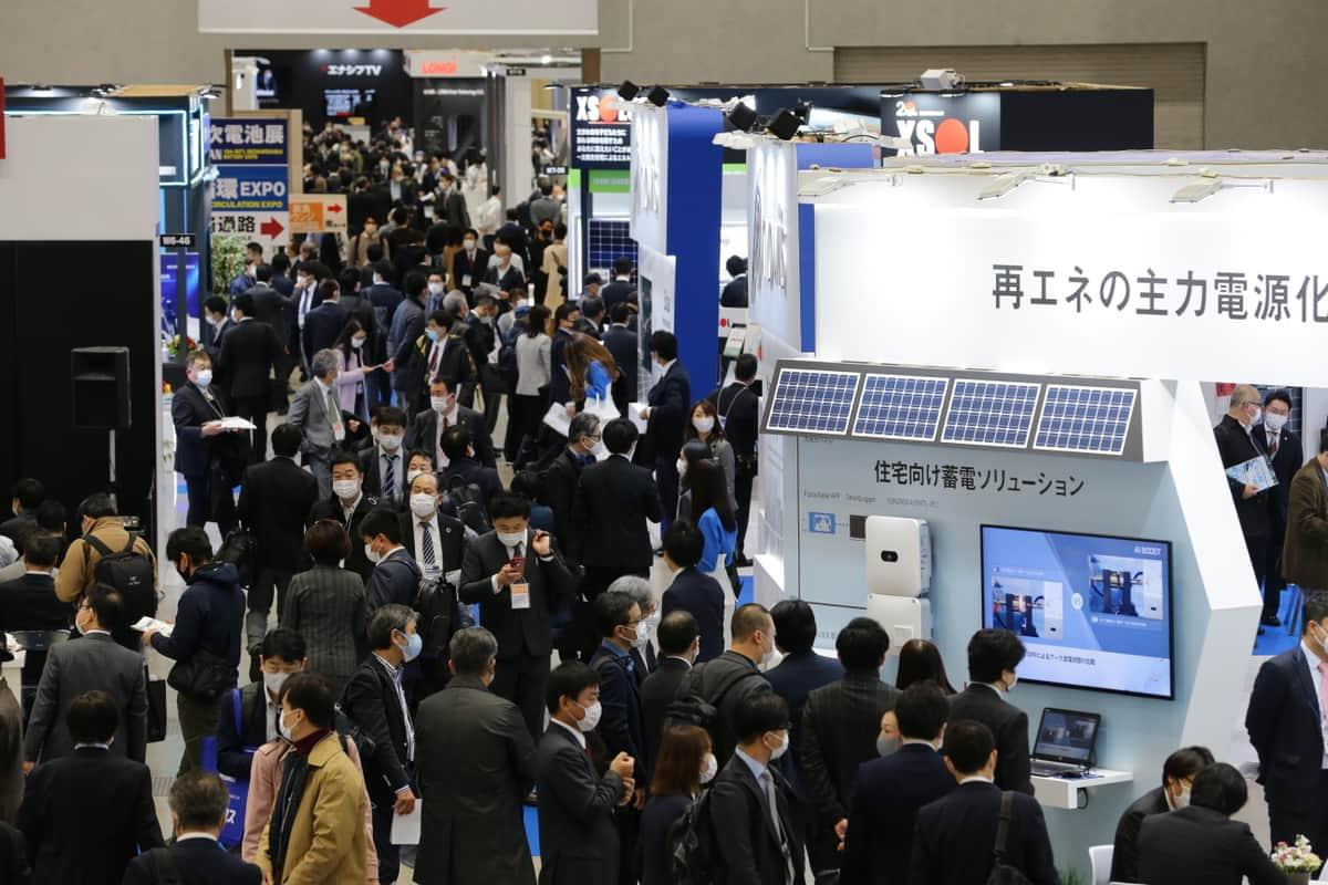 「脱炭素経営 EXPO」秋展が2021年9月29日~10月1日、東京ビッグサイトで開催(写真は、2021年3月開催のスマートエネルギーWeekの様子)。※社数は同時開催のスマートエネルギーWeekと併せた見込み数字